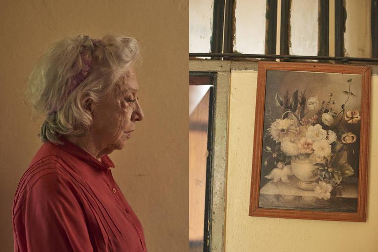 """À esquerda, Fernanda Montenegro no set de """"A Vida Invisível""""; à direita, detalhe do cenário das filmagens"""