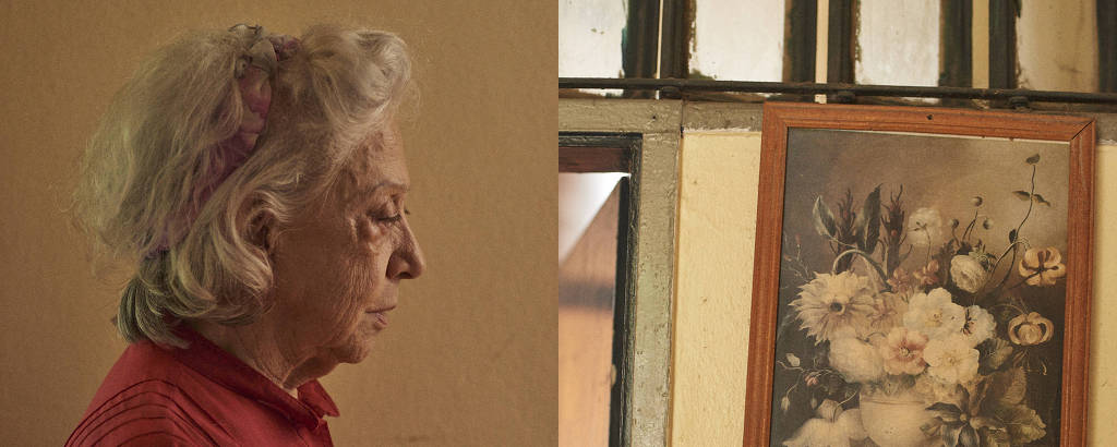 Díptico com retrato de Fernanda Montenegro nas filmagens de