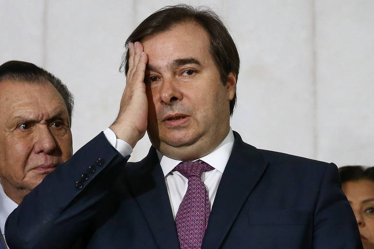 O presidente da Câmara dos Deputados, Rodrigo Maia (DEM-RJ), durante ato em Brasília