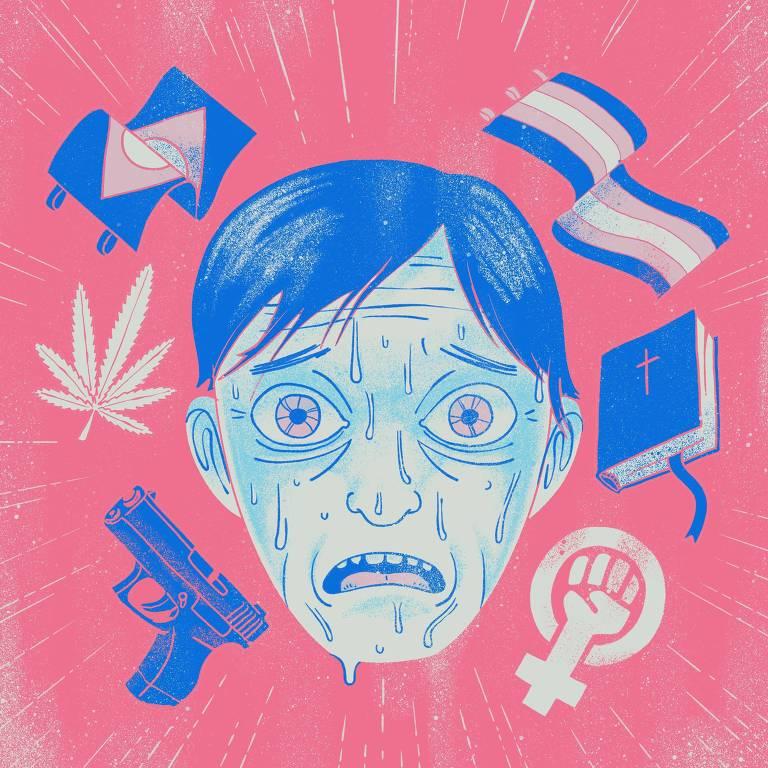 Aluno do ENEM angustiado com os novos temas do vestibular (arma de fogo, maconha, feminismo, diversidade sexual, religião...)