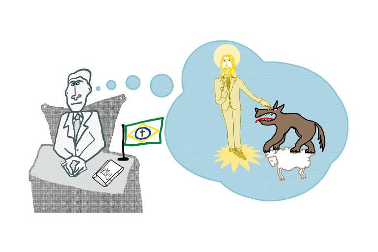 """Ilustração mostra homem de terno, sentado em escrivaninha, com bandeira do Brasil com uma cruz no lugar da frase """"Ordem e progresso"""" e uma Bíblia. Ele pensa um Jesus Cristo dourado de terno, batendo na cabeça de um lobo que está em cima de um cordeiro, aparentemente, morto."""