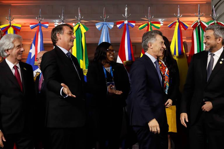 Presidente da República Jair Bolsonaro com os chefes de Estado e de governo do Mercosul, Mauricio Macri, Tabaré Vázquez e Mario Abdo Benítez