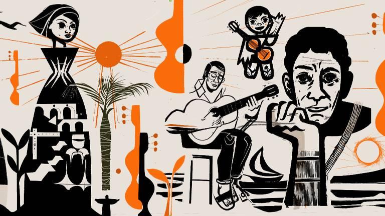 Esboço de grafite sobre João Gilberto que artista Speto fará no Irã