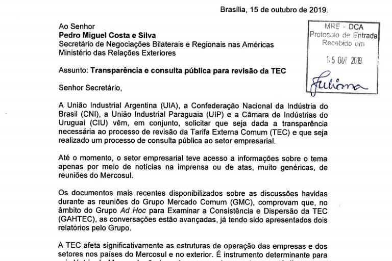 Leia cartas enviadas pela CNI e entidades empresariais ao governo sobre a TEC
