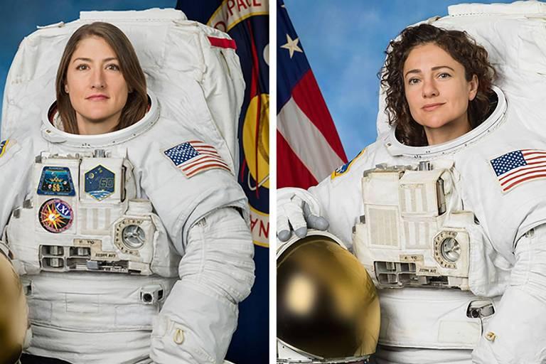 As astronautas Christina Koch (à esquerda) e Jessica Meir (à direita)
