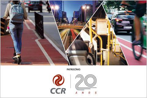 Montagem de imagens com uma pessoa andando na ciclofaixa com um patinete, uma avenida, a parte de dentro de um onibus e uma bicicleta em movimento em uma ciclofaixa