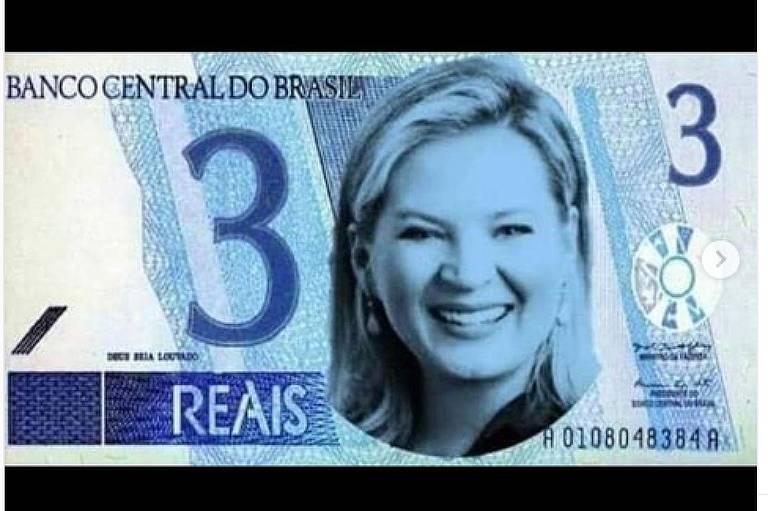 Eduardo Bolsonaro posta montagem com foto de Joice Hasselman em nota de R$ 3
