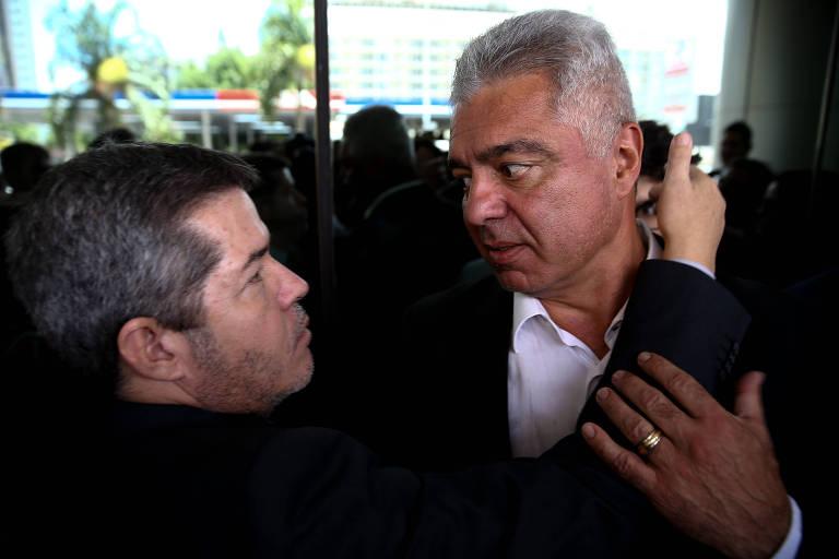 O líder do PSL na Câmara, deputado Delegado Waldir (GO), e o senador Major Olímpio (SP), após reunião da executiva do partido, em Brasília