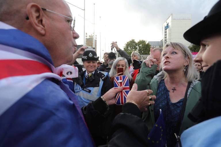 Protestos contra o brexit no sábado (19)