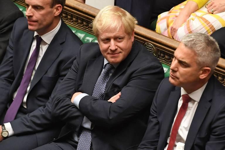 O premiê britânico, Boris Johnson, na Câmara dos Comuns em Londres, durante debate sobre o acordo do brexit