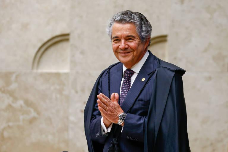 Ministro Marco Aurélio Mello em sessão Plenária do STF, sob a presidência da ministra Carmen Lucia