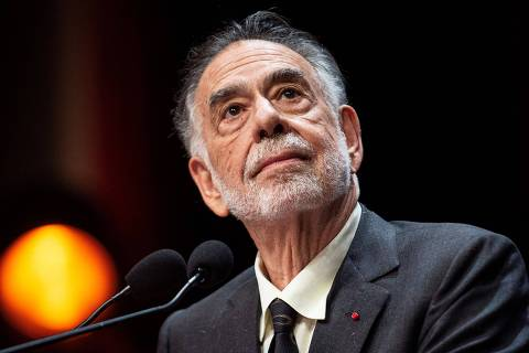 US movie director Francis Ford Coppola prepares to speak on stage after receiving the Lumiere Award during the 11th edition of the Lumiere Film Festival in Lyon, central eastern France, on October 18, 2019. (Photo by ROMAIN LAFABREGUE / AFP)