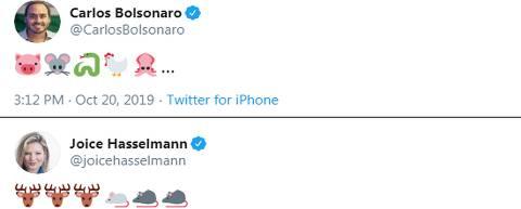 Em meio a briga, Carlos Bolsonaro e Joice Hasselmann trocam emojis de animais