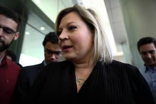 A deputada Joice Hasselmann (PSL-SP) durante entrevista em Brasília (DF)