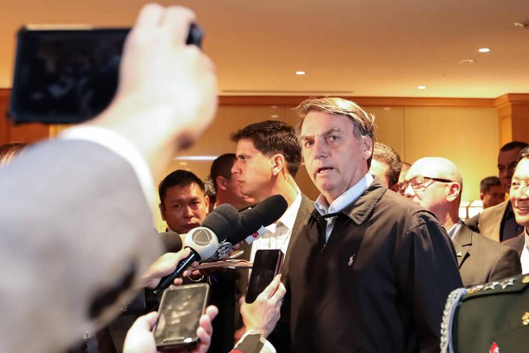 Presidente Jair Bolsonaro em coletiva de imprensa em Tóquio, no Japão