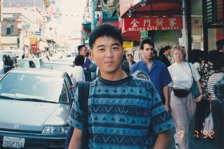 Yoshihiro Hattori em foto durante uma viagem a San Francisco em 1992; ele era um intercambista japonês que passava um ano nos EUA