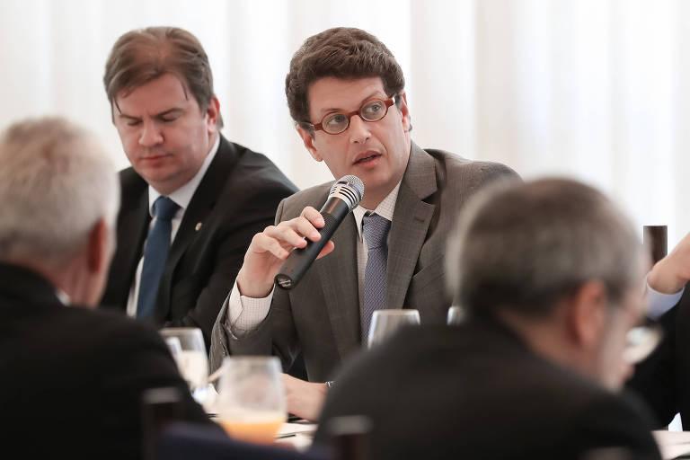 O ministro do Meio Ambiente Ricardo Salles fala em microfone