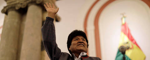Bolivia's President and presidential candidate Evo Morales of the Movement Toward Socialism (MAS) reacts after the results for the first round of the country's presidential election were announced, in La Paz, Bolivia October 20, 2019. REUTERS/Ueslei Marcelino ORG XMIT: UMS1