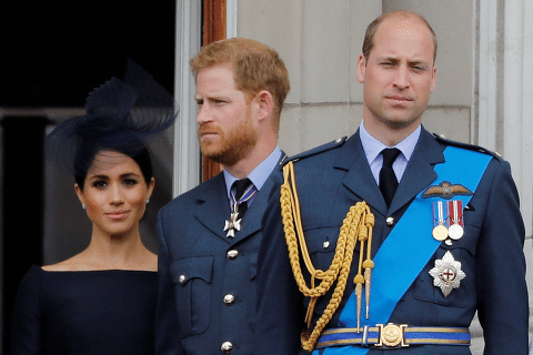 (FILES) In this file photo taken on July 10, 2018 (L-R) Britain's Meghan, Duchess of Sussex, Britain's Prince Harry, Duke of Sussex, Britain's Prince William, Duke of Cambridge and Britain's Catherine, Duchess of Cambridge, stand on the balcony of Buckingham Palace to watch a military fly-past to mark the centenary of the Royal Air Force (RAF). - Britain's Prince Harry said he and his brother Prince William were on