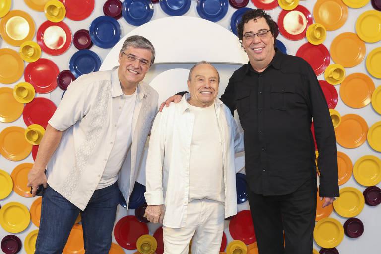 Flavio Fachel, Stenio Garcia e Casagrande na gravação de mensagem de fim de ano da Globo