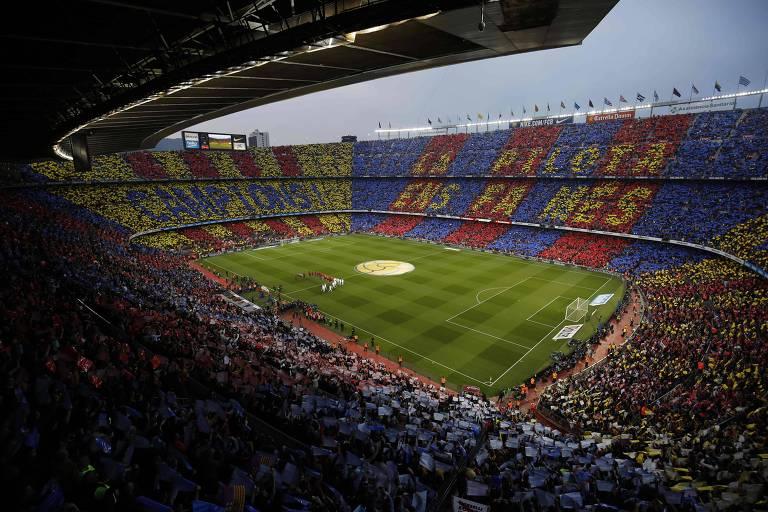 O estádio Camp Nou no clássico entre Barcelona e Real Madrid, em maio de 2018