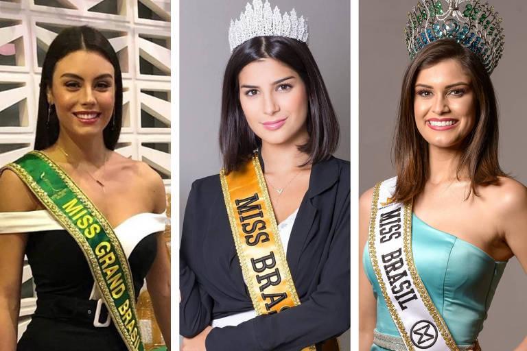 Miss Grand Brasil, Marjorie Marcelle; Miss Brasil Universo, Júlia Horta, e Miss Brasil Mundo, Elis Miele