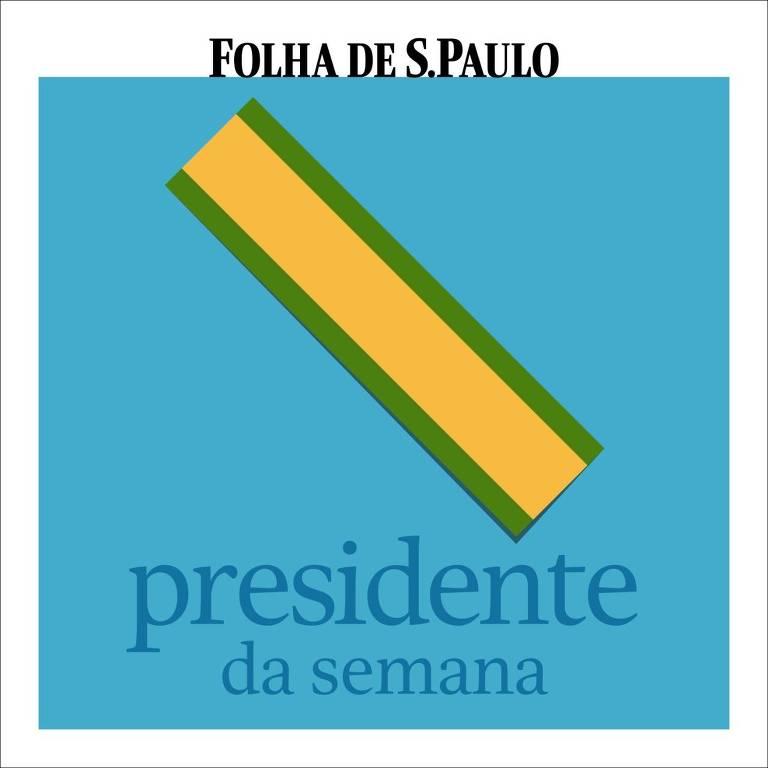 Capa do podcast Presidente da Semana. O fundo é azul, na parte inferior está escrito o nome do podcast e, acima dele, a representação de uma faixa presidencial em verde e amarelo