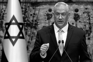 Benny Gantz, leader of Blue and White party, speaks during a nomination ceremony at the President's residency in Jerusalem