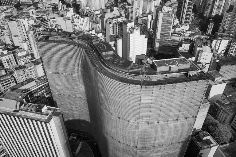 Restauro do Edifício Copan. Vista  aérea do  Edifício Copan, no centro de São Paulo