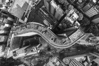 Vista aérea do edifício Copan, no centro de São Paulo