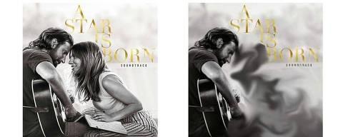Comparação das capas da trilha sonora do filme 'Nasce Uma Estrela'. A foto que não tem Lady Gaga está no serviço de streaming Melovaz, do Irã