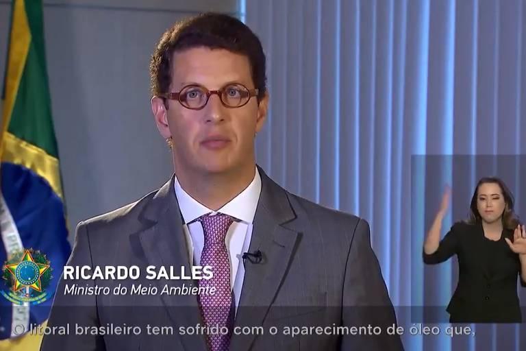 O ministro do Meio Ambiente Ricardo Salles durante pronunciamento oficial