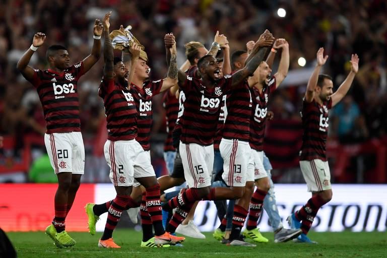 Jogadores do Flamengo celebram a classificação à final da Libertadores