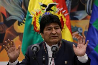 Bolivia's President Evo Morales speaks during a news conference at the presidential palace La Casa Grande del Pueblo in La Paz