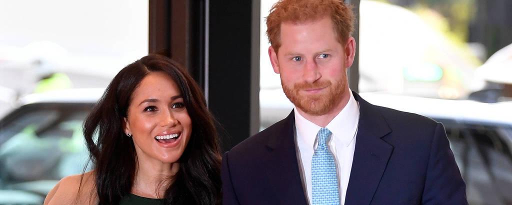 O príncipe Harry com a mulher, Meghan Markle
