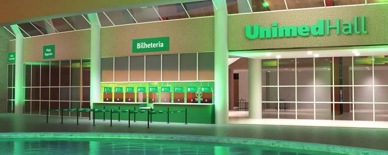 Projeção 3D da nova fachada do UnimedHall