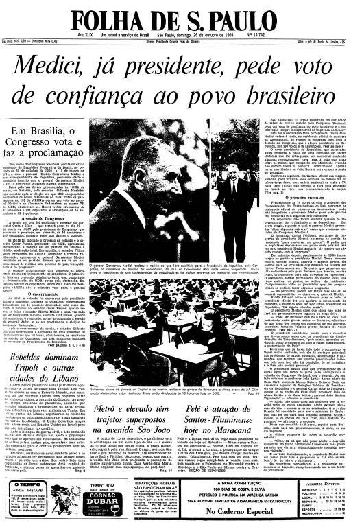 Primeira página da Folha de S.Paulo de 26 de outubro de 1969