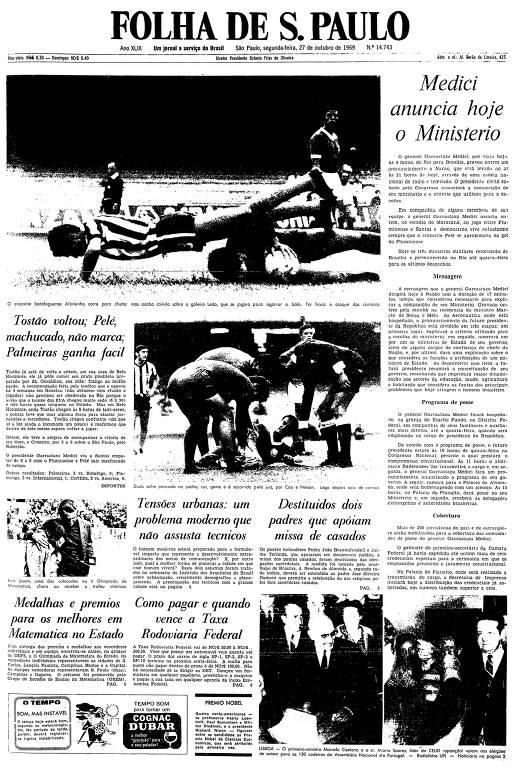 Primeira página da Folha de S.Paulo de 27 de outubro de 1969