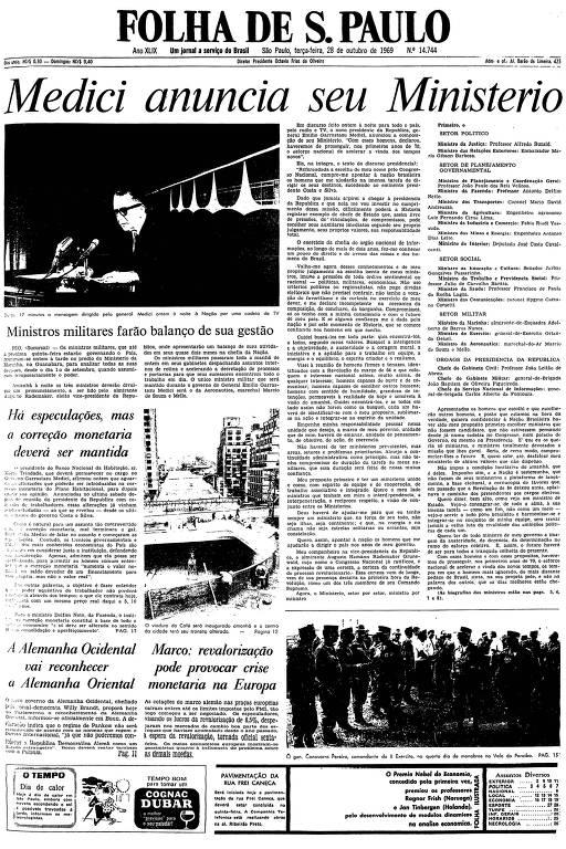 Primeira página da Folha de S.Paulo de 28 de outubro de 1969