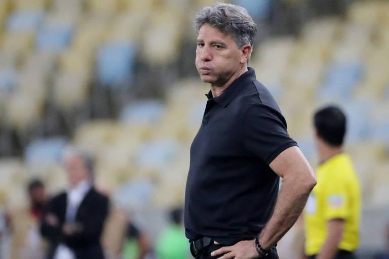 Renato Gaúcho durante goleada sofrida para o Flamengo por 5 a 0 na Libertadores, a pior derrota do Grêmio na história da competição
