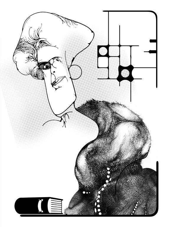 """Ilustração retratando a escritora Júlia Lopes de Almeida, feita por Lula Palomanes para o livro """"Medo Imortal"""""""