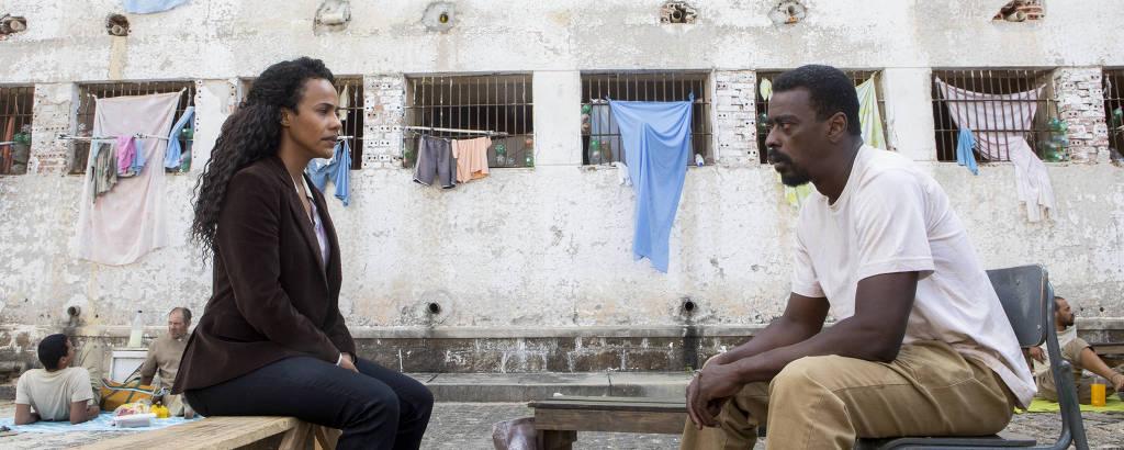 Naruna Costa e Seu Jorge em cena de 'Irmandade', série da Netflix com o O2