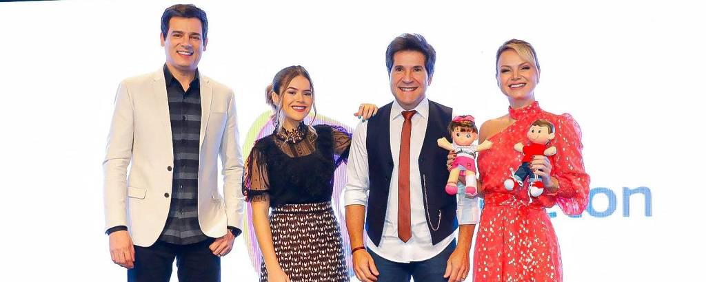 Celso Portiolli, Maisa, cantor Daniel e Eliana na apresentação do Teleton 2019
