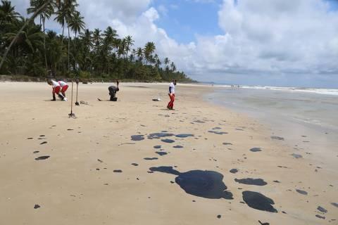 ILHEUS,BA - 25/10/2019 -Óleo atinge as Praias do Norte, em Ilheus. Equipes trabalham na limpeza e retiradas do óleo. (Foto: José Nazal/Divulgação)