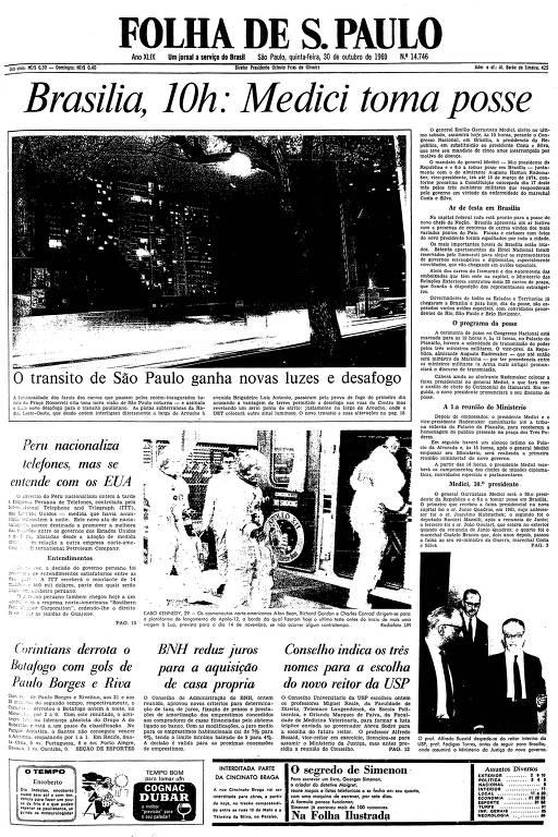 Primeira página da Folha de S.Paulo de 30 de outubro de 1969