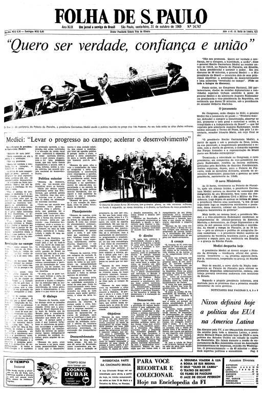 Primeira página da Folha de S.Paulo de 31 de outubro de 1969