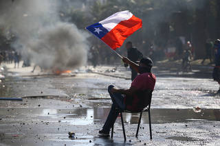 Protest against Chile's state economic model in Santiago