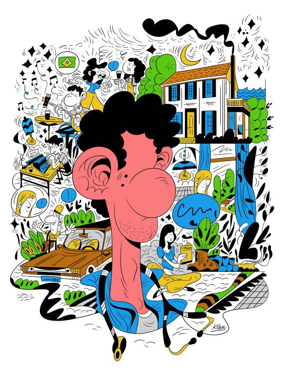 Ilustração de Kleverson Mariano (Klevs) para a seção Imaginação, da Ilustríssima