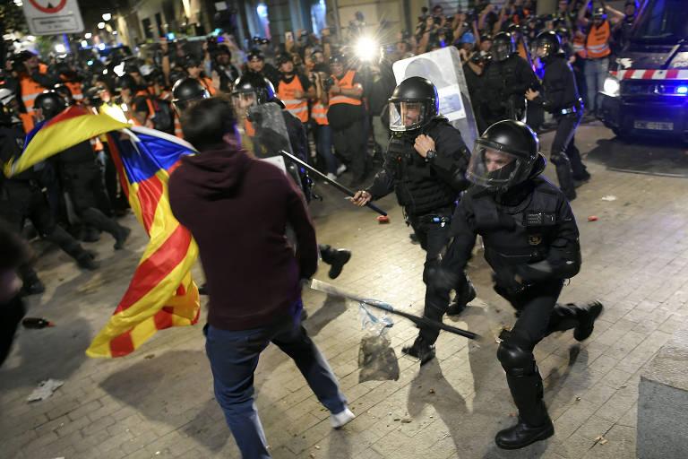 Manifestação separatista em Barcelona em 26.out