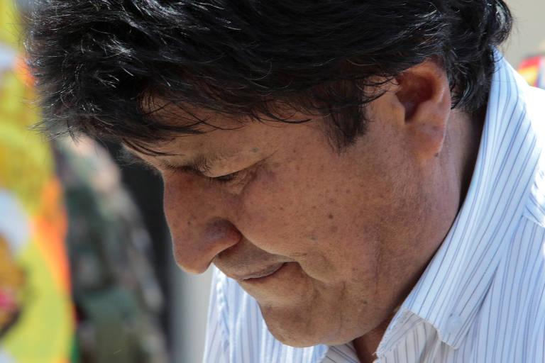 O presidente da Bolívia, Evo Morales, participa de cerimônia em Chimoré